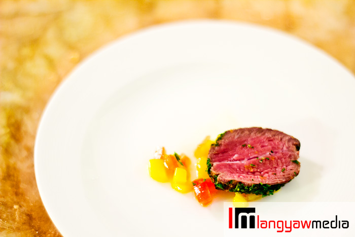 The Chef creation of the night: Ostrich with mango salsa