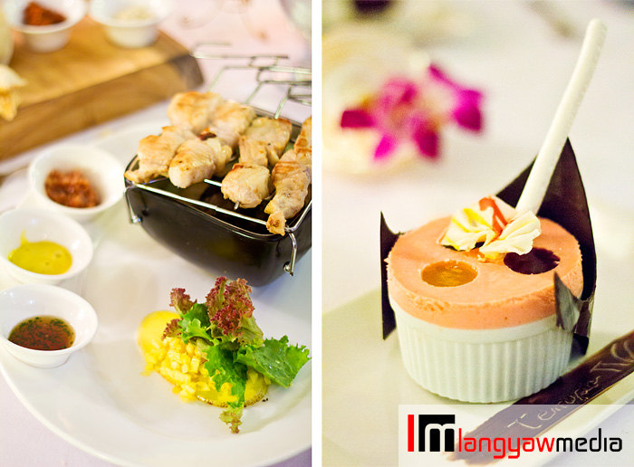 Left, crocodile meat skewers with three dips: honey and chili sauce, curry aoili and guava chutney and green mango, papaya and pineapple salad; right, Ice crusher trio: three mini iced souffle of mango, tablea and guava ice cram with mango, chocolate and guava sauce