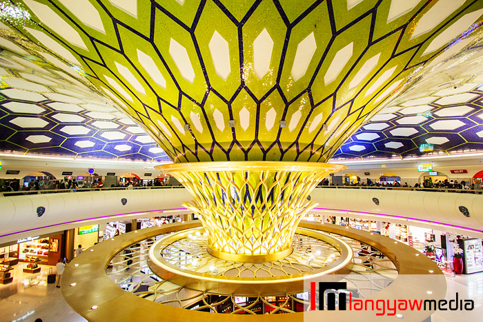 The iconic interior of Abu Dhabi International Airport with this conical centerpiece