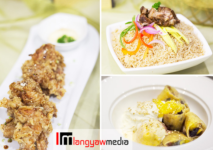 Clockwise from top right: humbagoong rice, fried halo-halo ala mode, chicken tagudtod