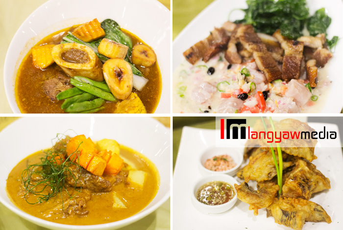 Clockwise from top right: sinuglaw, crispy catfish, beef caldereta, beef pochero tagalog