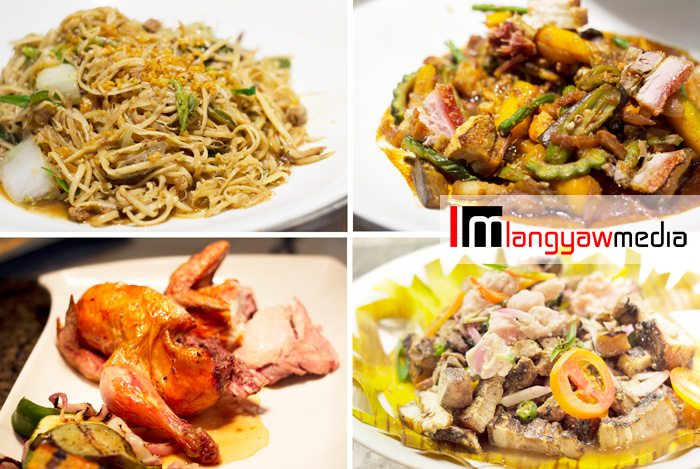 Clockwise from top right: pakbet sa cerveza, sinuglaw, lechon manok and pansit buko