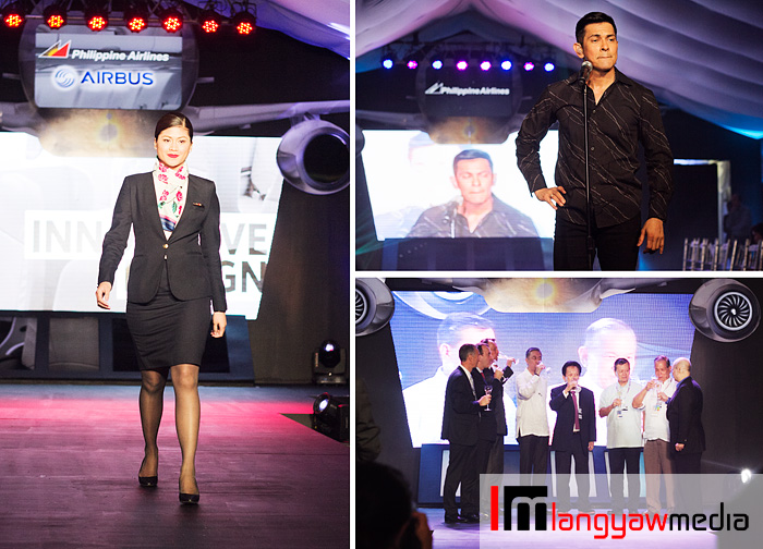 A fabulous launch night, clockwise from top right: Gary V entertaining the crowd, PAL big guns toasting the event and a flight attendant walks the ramp
