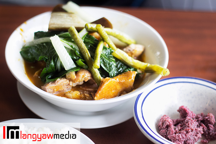 Delicious kare kare with its bagoong accompaniment