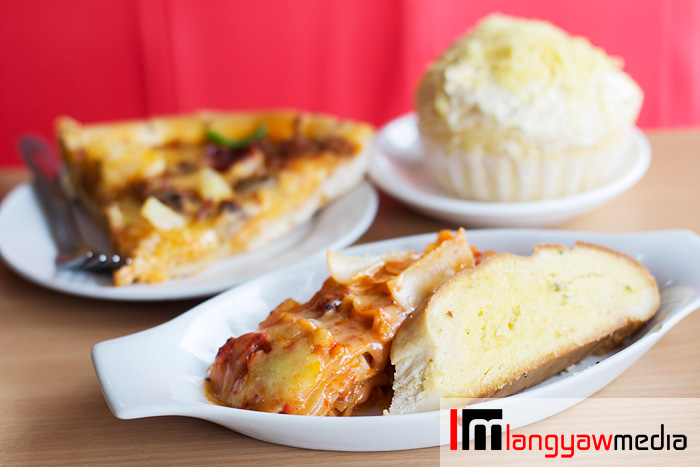 Pizza slice, lasagna and the ensaymada