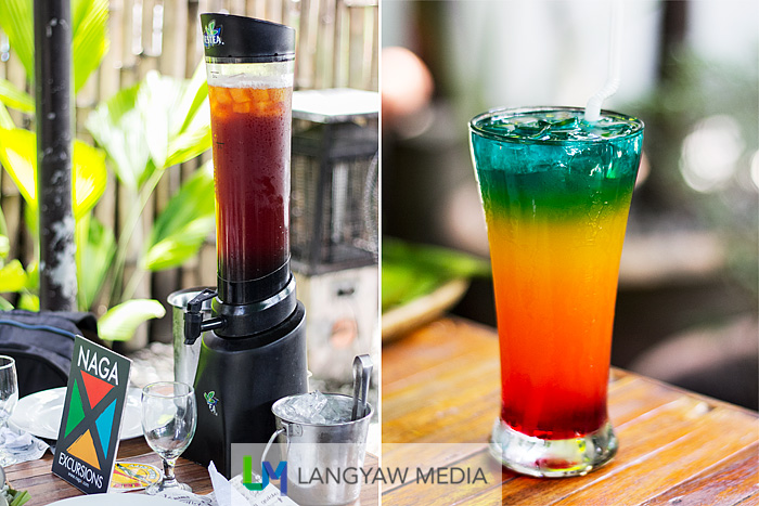 Left, the tower ice tea; right, rasta paling is the restaurant's signature drink