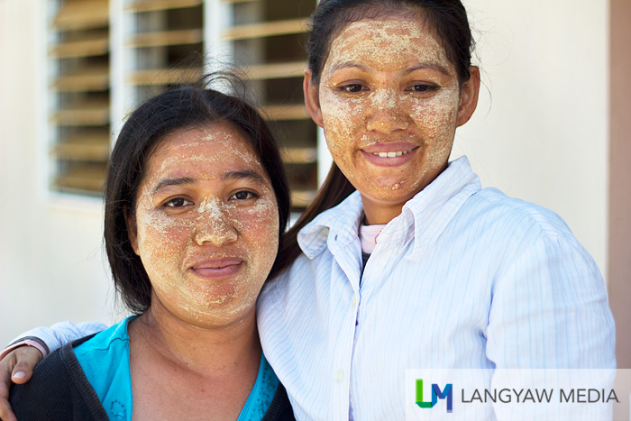 The painted faces of these two women, borak