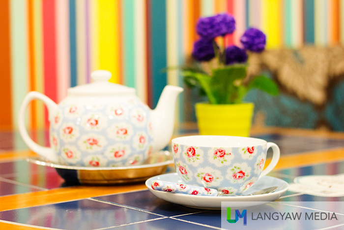 Matching cup, saucer and teapot