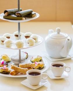 Cafe Laguna's three tier Filipino high tea served with pandan tea