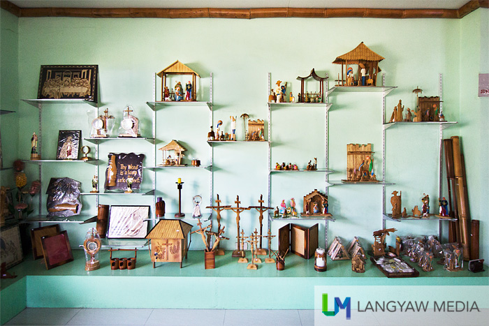 The display area of several types of handicrafts made from bamboo