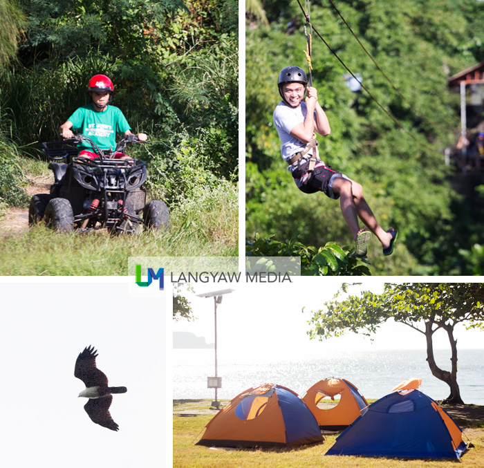 Corregidor island is not just  about history but adventure and fun too! Clockwise from top right: zipline, staying at a tent, birdwatching and atv riding