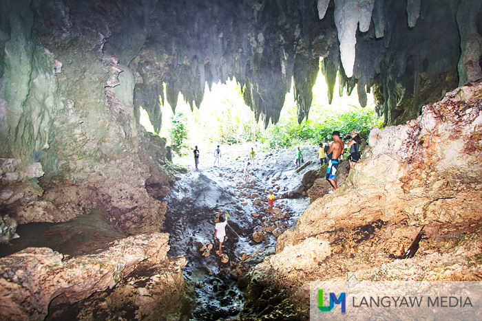 A view from deeper into Lahab Cave