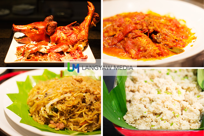 From top right: Kinamatisang bulad (dried fish with tomatoes), adobong mais (roughly ground corn), bam-i and lechon