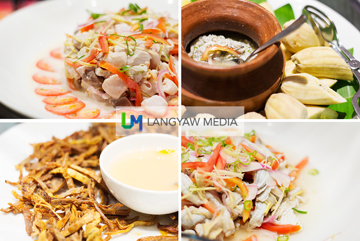 From top right: boiled camote and bananas, raw sea cucumber salad, kinuskus nga pusit (strips of dried squid) and fish kinilaw (ceviche)