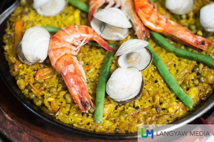Seafood paella of Country Chicken's Spanish-Filipino cuisine.