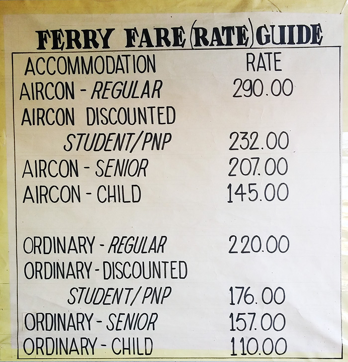 Fare guide of roro as of 16 April 2015