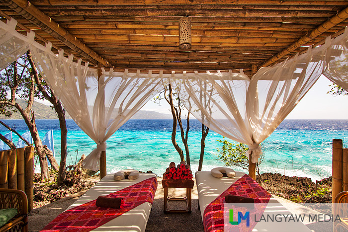 It's a simple massage hut that has this wonderful view of the sea below.