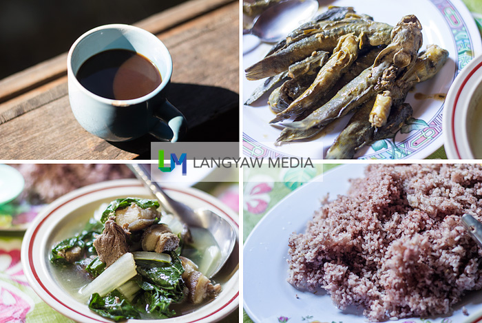 Clockwise from top right: paksiw nga palileng (river fish stewed in vinegar), pugot (red rice), linggeng nga laman (boiled wild boar's meat) and native brewed coffee