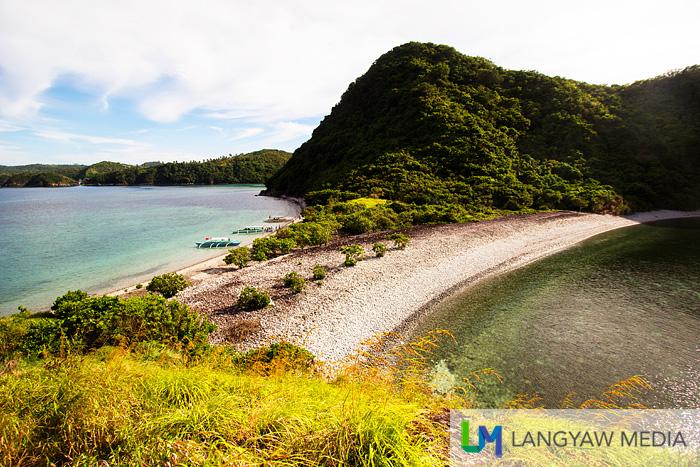 Lantangan Beach as seen from atop the grassy slopes