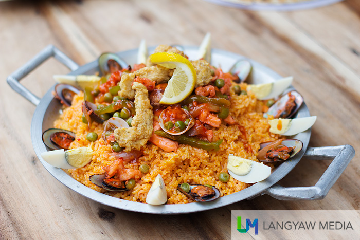 Woodstone Kitchen's paella topped with lots of ingredients