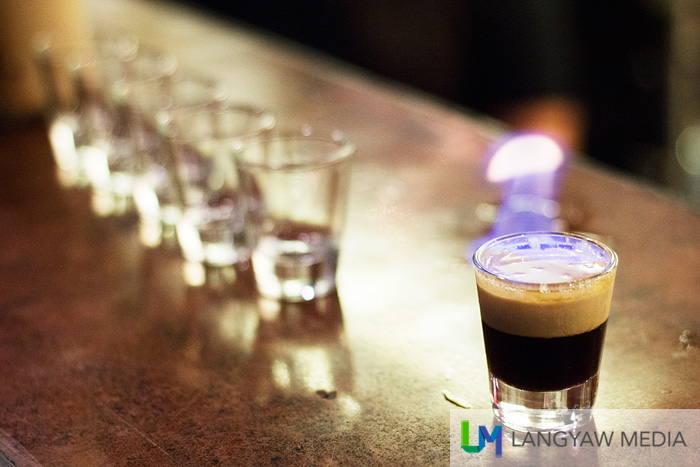 Flaming Fajardo consists of kahlua, Bacardi and Baileys and was named in honor of the owner's friend who designed the restaurant