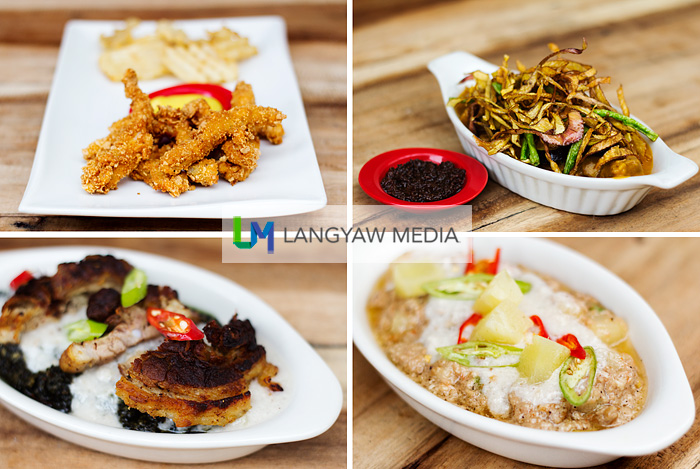 Clockwise from top right: Kare-kare topped with fried banana heart jus, bicol express with pineapple bits, laing with crispy pork chop and battered pork fingers