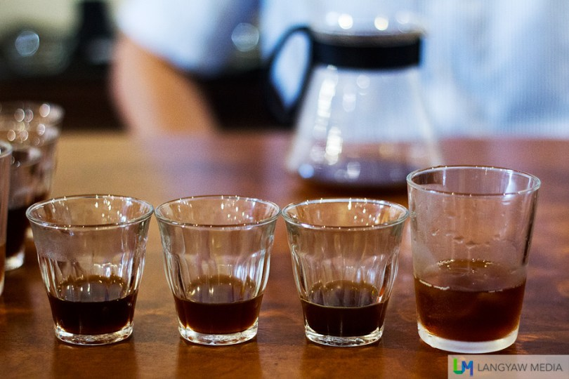 Different brewers result to different coffee taste from the bttery and rough taste of the French press to the cleaner coffee via the V60.