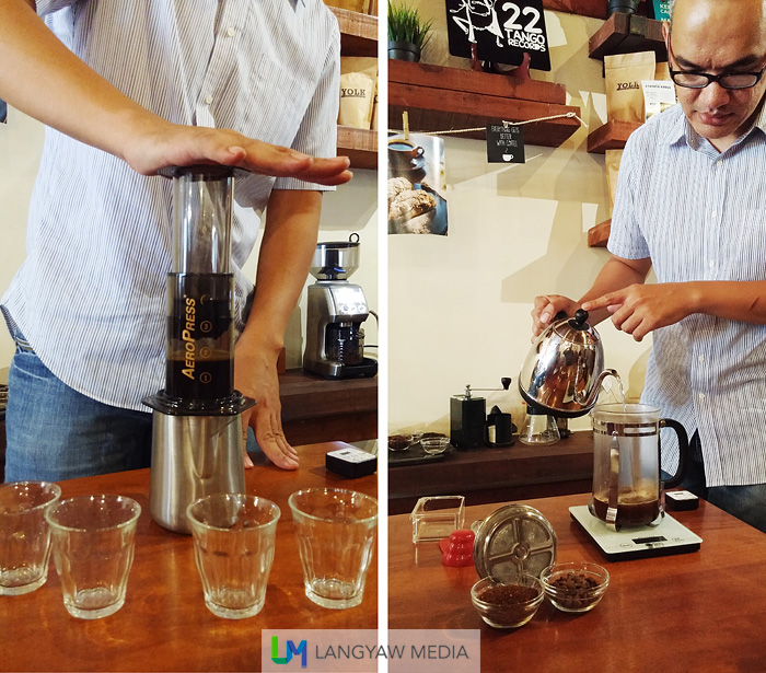 Using the aeropress and pouring hot water to the French press
