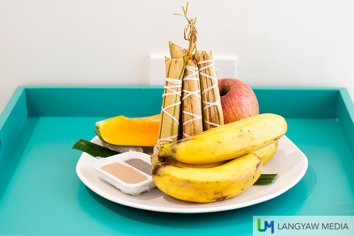 Fruit platter with Baler's popular suman which you can dip in peanut butter.