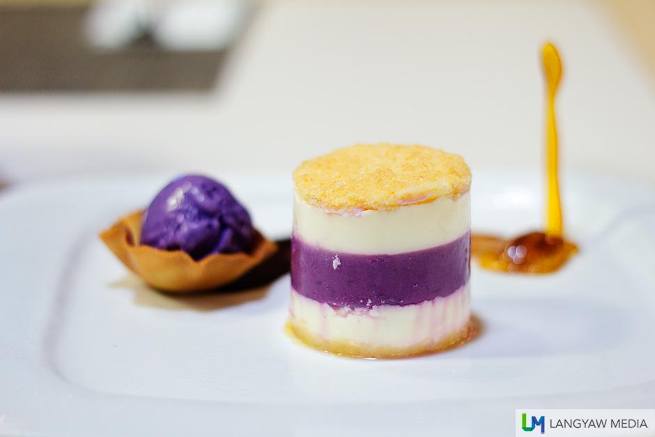 Ube kinampay with a scoop of ube ice cream
