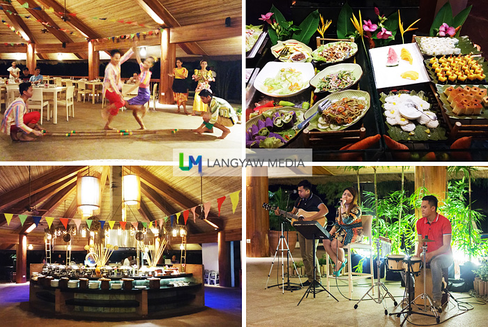 Clockwise from top right: buffet spread, band performing during Saturday night, buffet table and native dances by a local college dance troupe