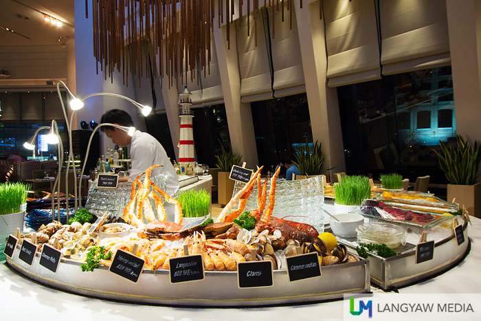 The seafood spread at the Seasonal Tastes restaurant. Take your pick of fresh European seafood for a memorable dinner.