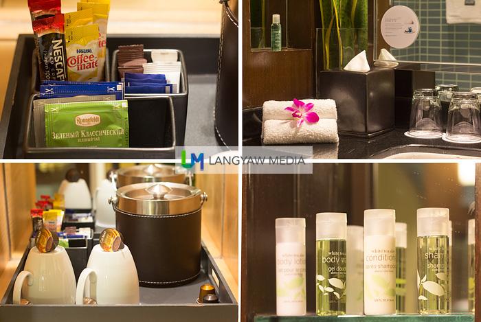 Coffee/tea and bath amenities