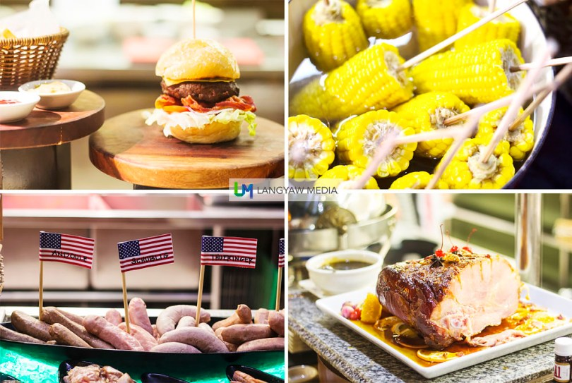 The burger is really good! Alongside with corn on the cob, ham and different sausages