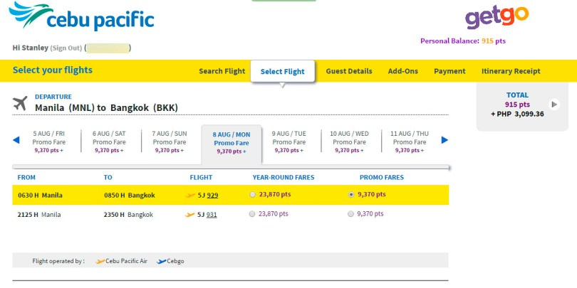 The GetGo booking page showing the points needed for my Manila-Bangkok flight. Note that screencapture was done after I booked using 10K points. If your points are not enough, a cash balance equivalent is also displayed.