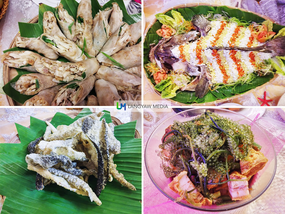 Clockwise from top right: Lapulapu sa Mayonesa (grouper in mayonnaise), bagnet salad with lato, fish chicharon and lumpiang ubod