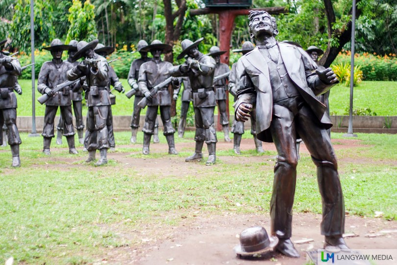 At the light and sound tableau and actual site where National Hero Jose Rizal was executed
