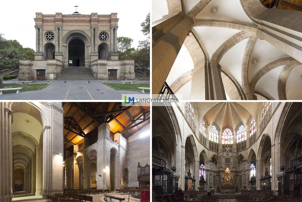 exterior and interior of the Eglise de St. Aubin built in 1847