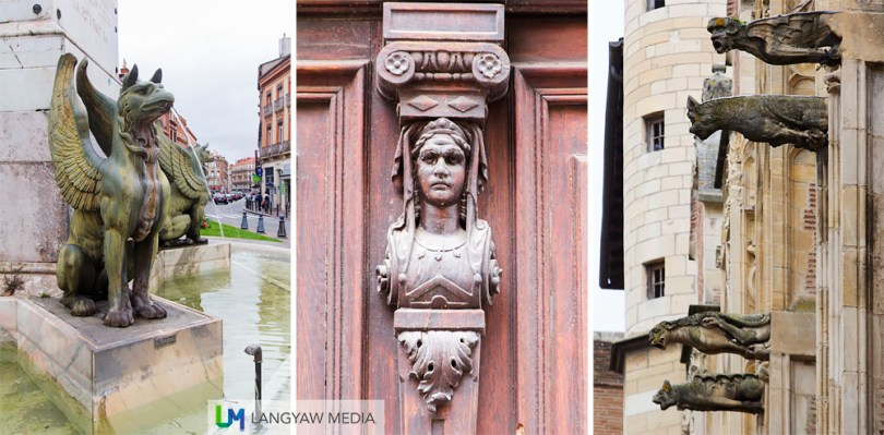 Details found around the city: left, from a fountain; center, detail from a house, right, gargoyles from the cathedral