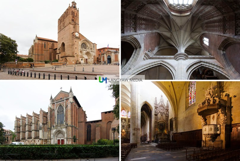Cathédrale Saint-Étienne de Toulouse with portions dating as early as 844 and several constructions starting in 1073 till the 20th century. Clockwise from top right: vaulting near the presbytery; disjointed interiors as the cathedral is said to be two structures merged into one; nave and buttressing of the cathedral