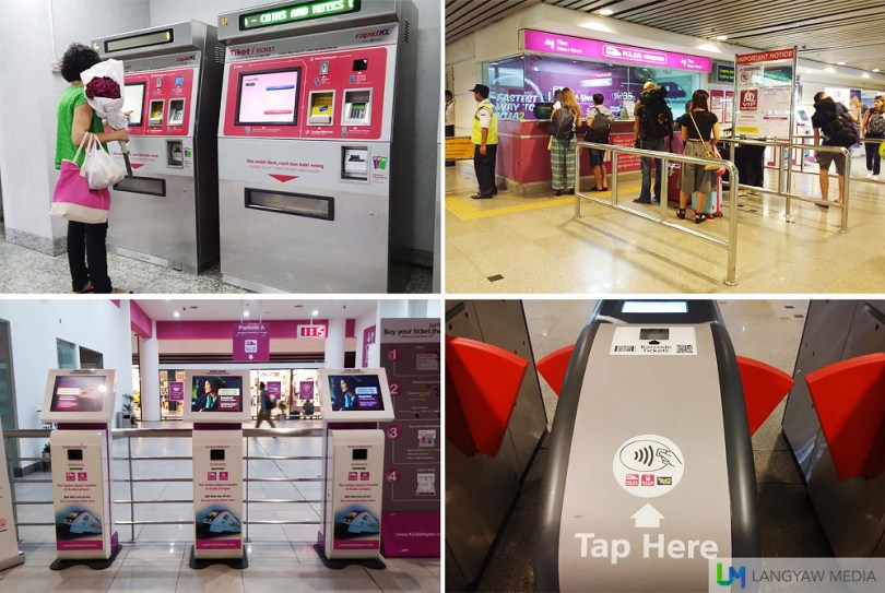 Clockwise from top right: Ticket booth at KL Sentral; for entry and exit, you have to tap the card at this machines; ticket terminal using credit/debit cards and automated ticket kiosks