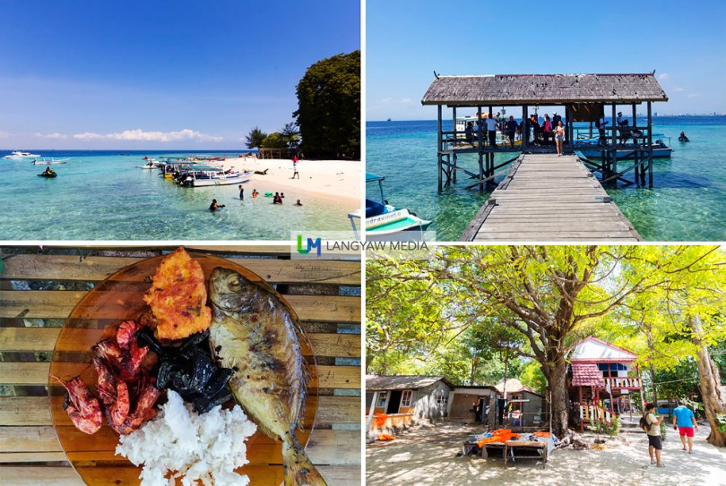 Pulao Samalona's beach, wooden jetty, interior of island with houses and the Indonesian food we had for lunch