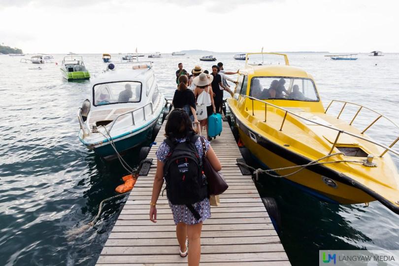 The fast boat from Teluk Kodek in Lombok to Gili Trawangan