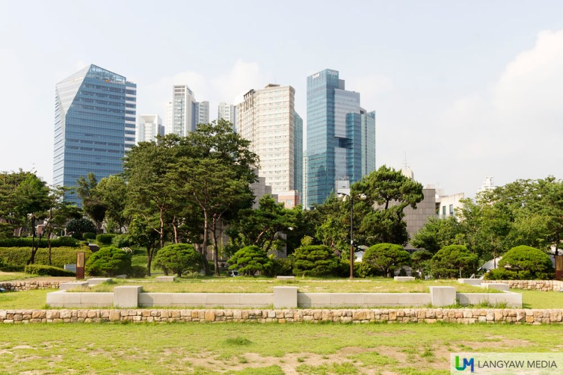 Foreground is the foundation of the Yanghwajin Military Base built in 1754