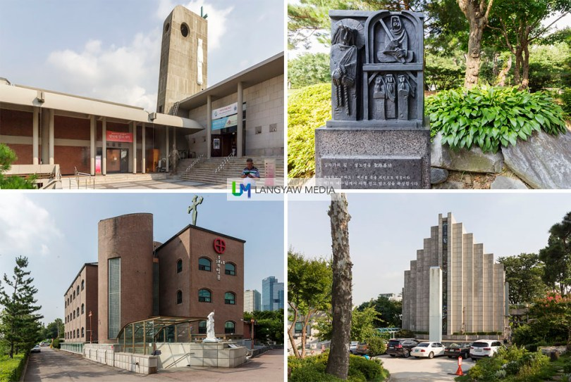 Clockwise from top right: one of the stations of the cross at the garden; Seoul Union Church at the Yanghwajin Foreign Missionary Cemetery which is just adjacent to Jeoldu-san Martyr's Shrine; Cursillo Study Center and, Jeoldu-san Martyr's Shrine Museum