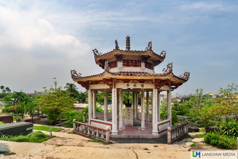 An ornate mausoleum of a departed Filipino from the Chinese community