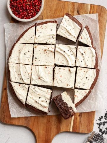 salt and pepper white chocolate ganache brownies