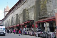 The old city wall is now used for stalls selling all kinds of stuff