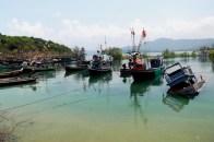 Boats bob in the salt lagoon