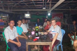 Fresh prawns, pickled tea leaves and beer in the village